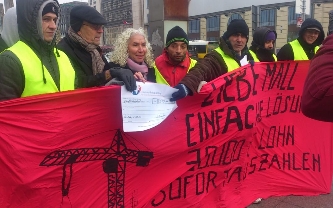 """Unterstützung der rumänischen Arbeitern der """"Mall of Berlin"""""""